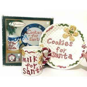 Santa Cookie Milk Plate Mug Christmas Gingerbread